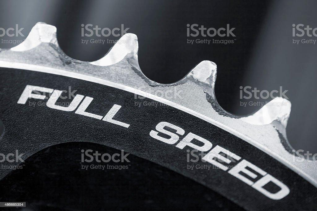 Bicycle sprocket wheel, full frame. stock photo