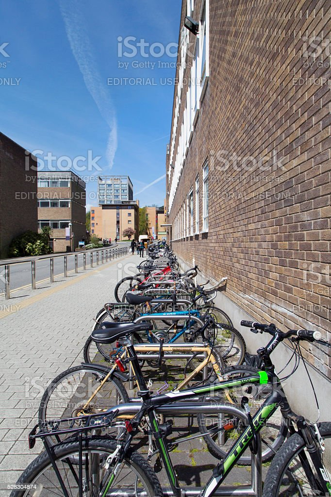 Bicycle Stand in University stock photo