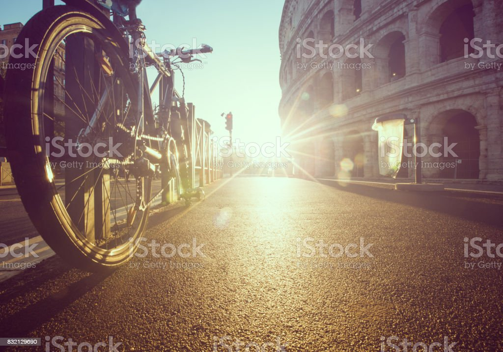 Bicycle stoped in front of Rome stock photo