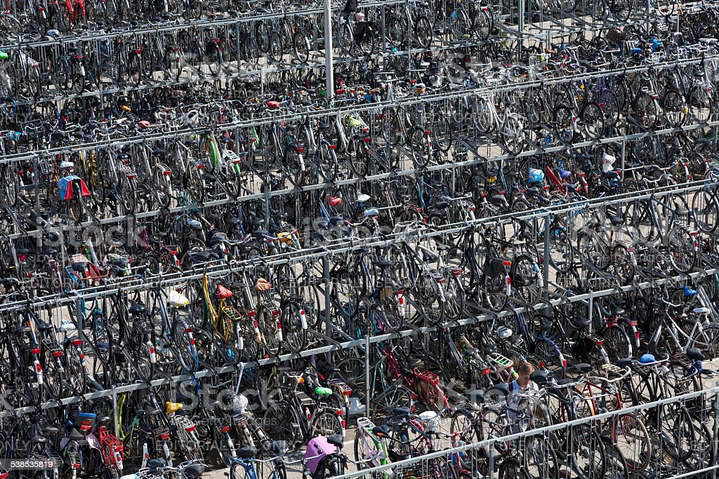 Bicycle storage in Delft near the station stock photo