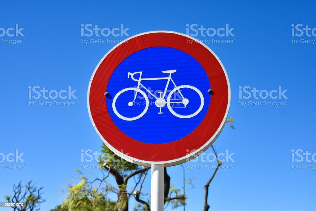 Bicycle Street Lane Sign in Buenos Aires stock photo