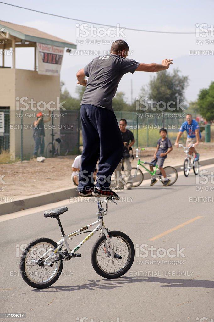 bicycle stunt rider royalty-free stock photo