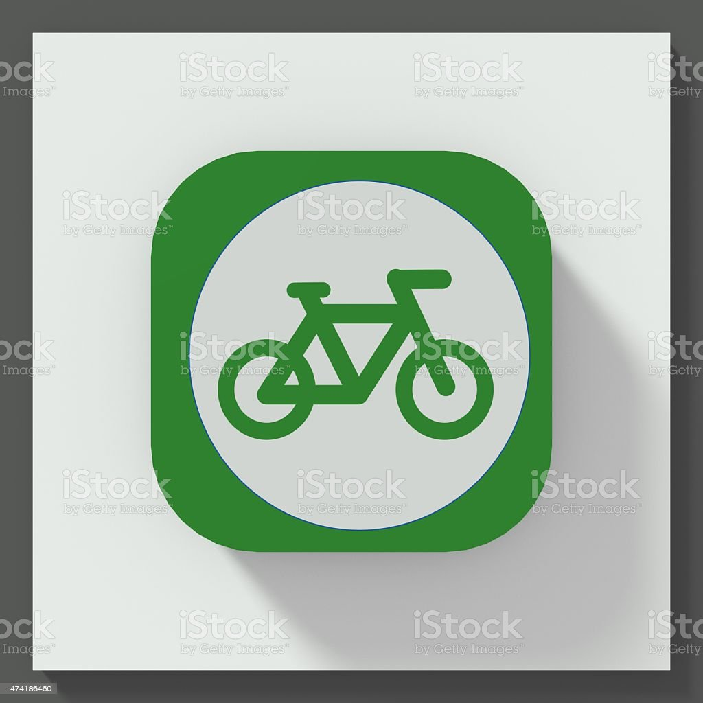 Bicycle symbol square button vector art illustration