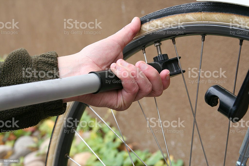 bicycle tire pump stock photo