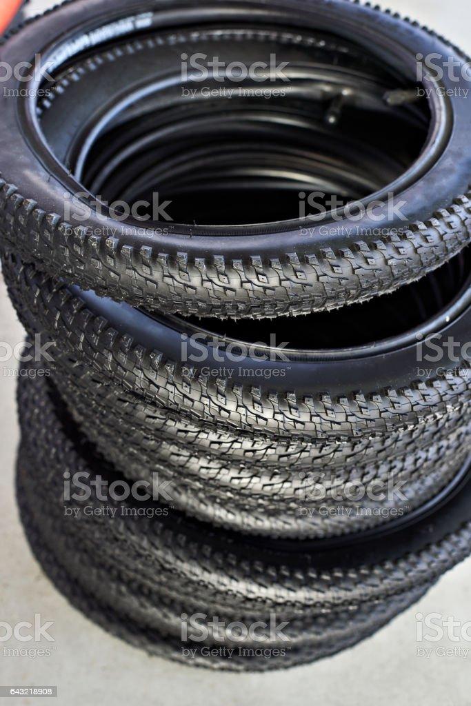 Bicycle tires stock photo