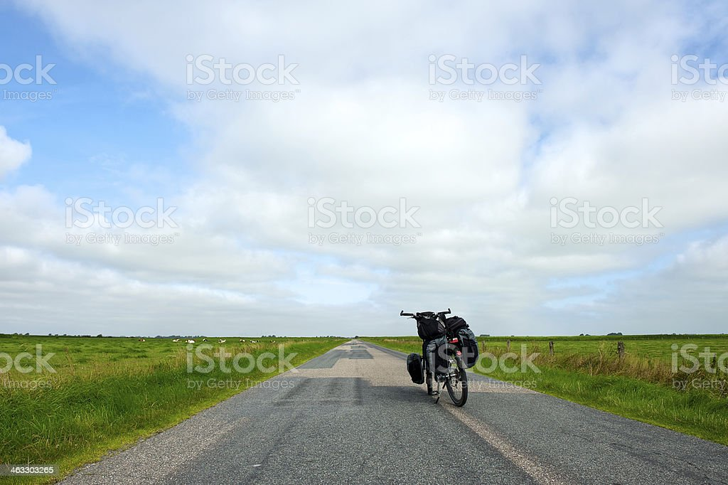 Bicycle touring stock photo