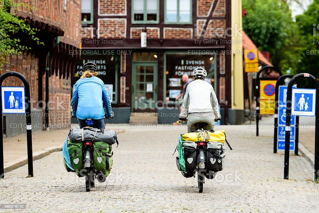 Bicycle tourists stock photo