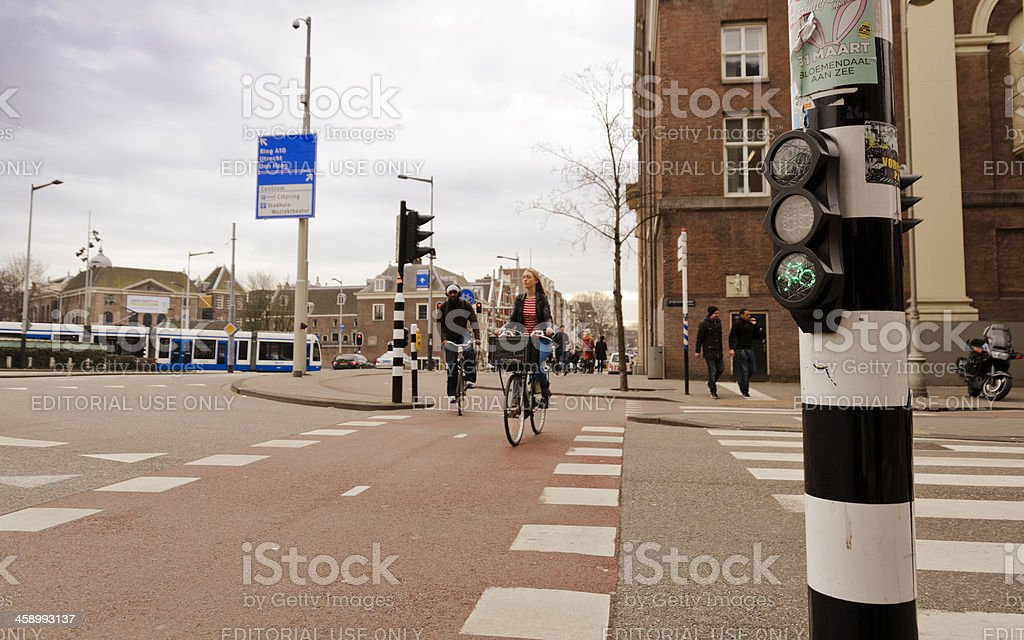 Bicycle traffic light in Amsterdam royalty-free stock photo