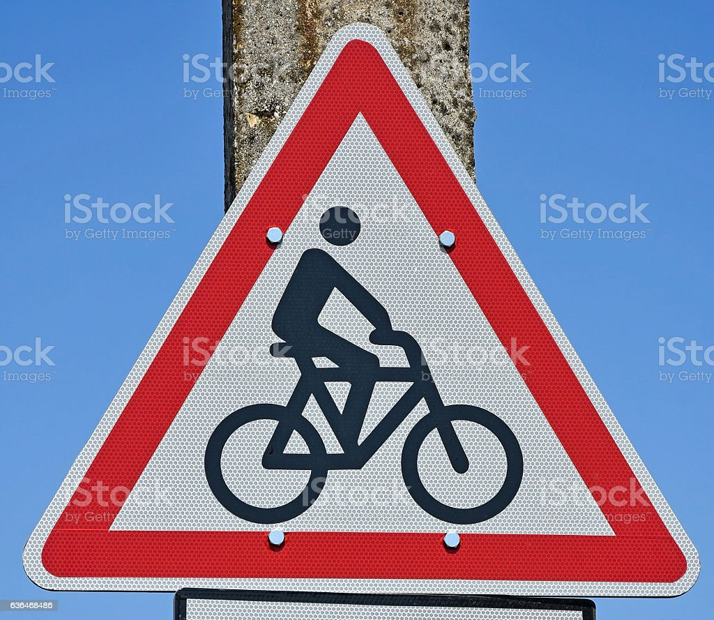Bicycle traffic road sign stock photo