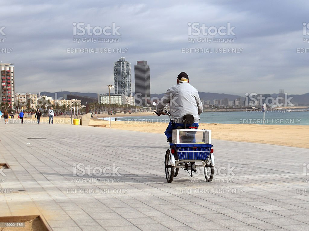 bicycle trailer for pets at the beach in Barcelona,Spain royalty-free stock photo