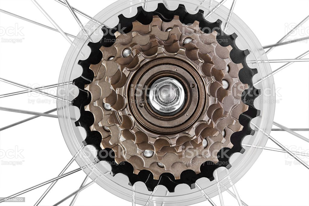 Bicycle transmission gears stock photo