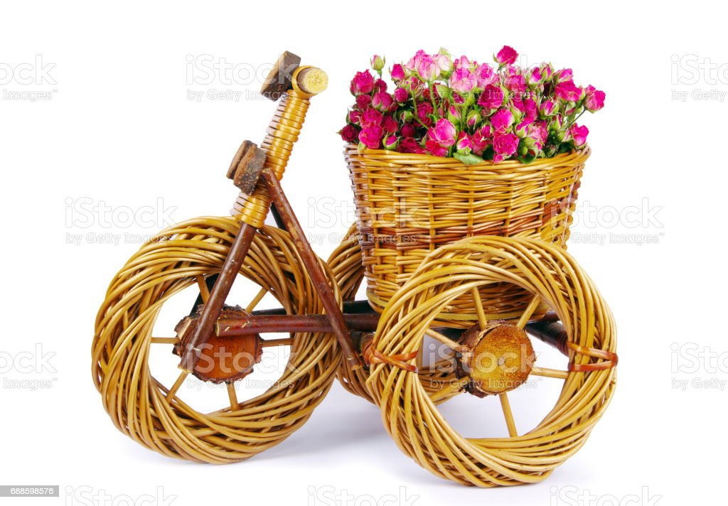 bicycle vase with flowers stock photo