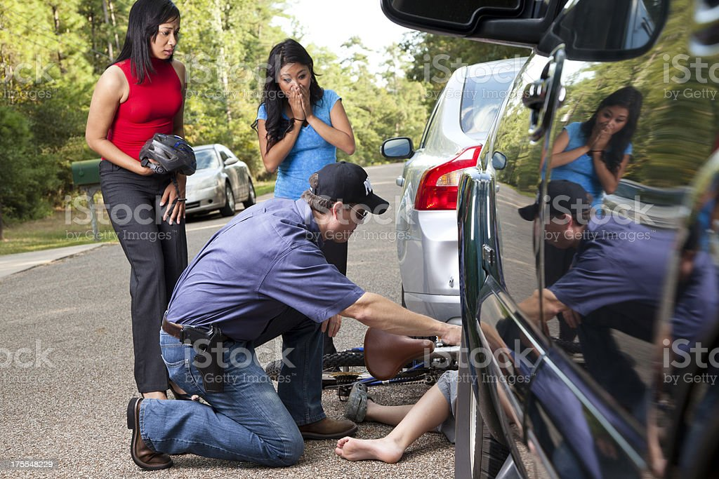 Bicycle vehicle accident. Wreck. Child, driver's police. stock photo