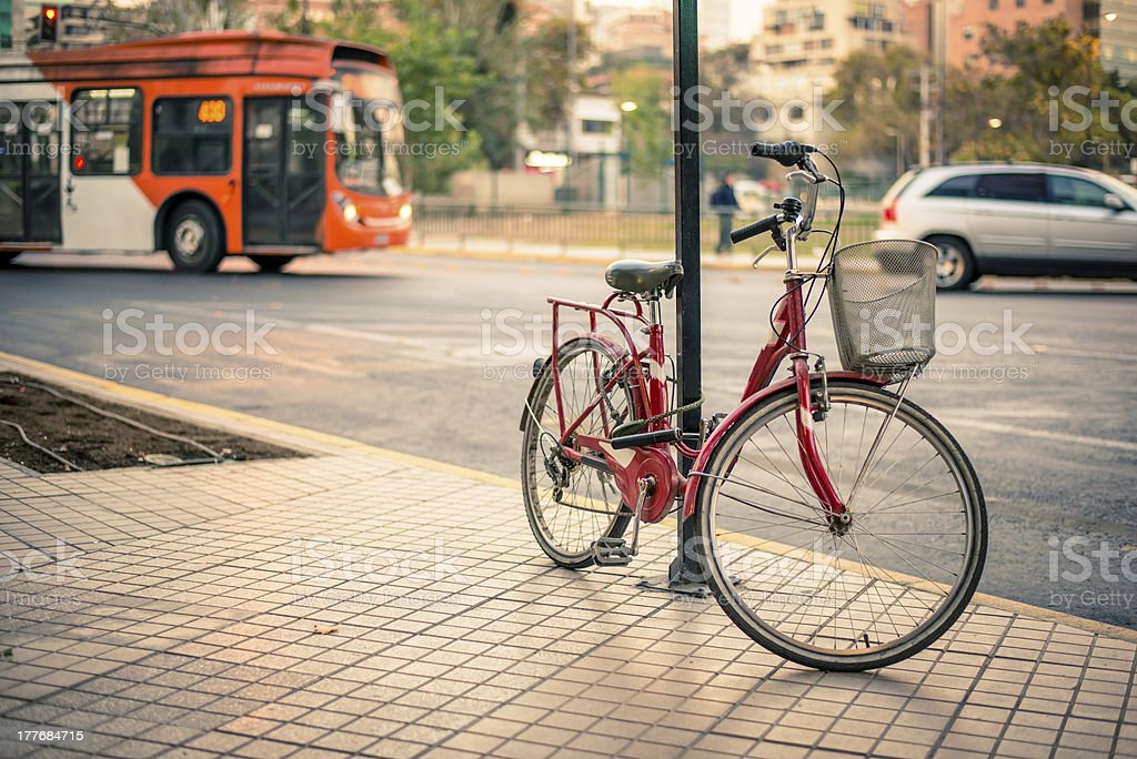 Bicycle versus public transport royalty-free stock photo