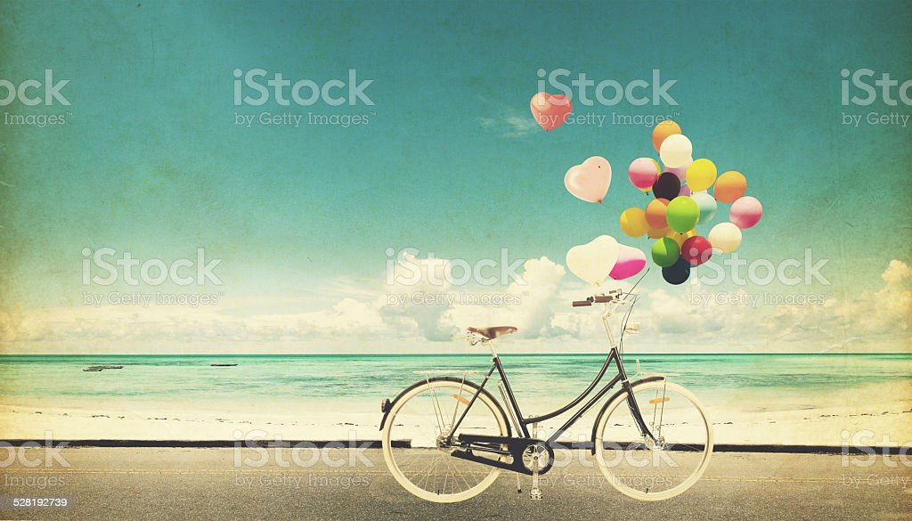 bicycle vintage with heart balloon stock photo