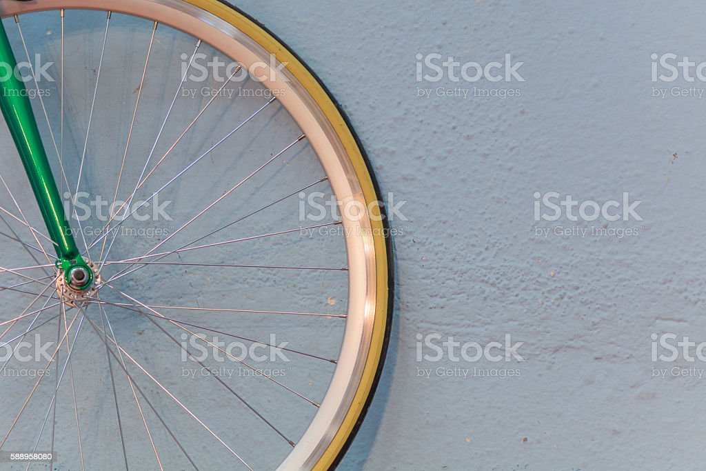 Bicycle wheel and spokes detail closeup. Image with hub. stock photo