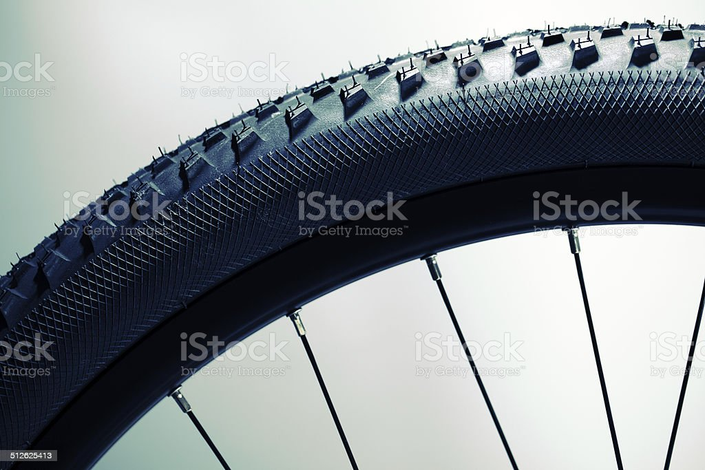 Bicycle wheel and tire stock photo