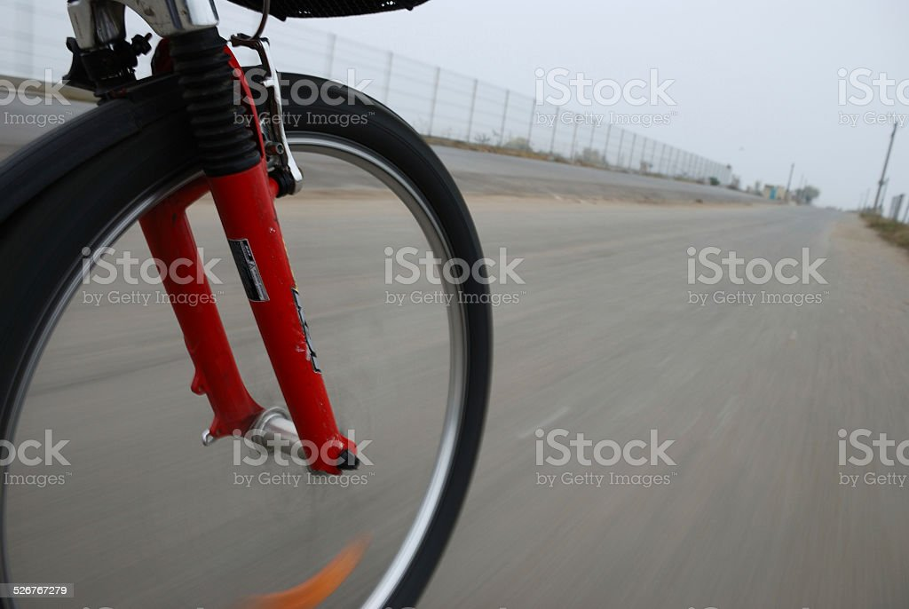 Bicycle wheel closeup in motion royalty-free stock photo