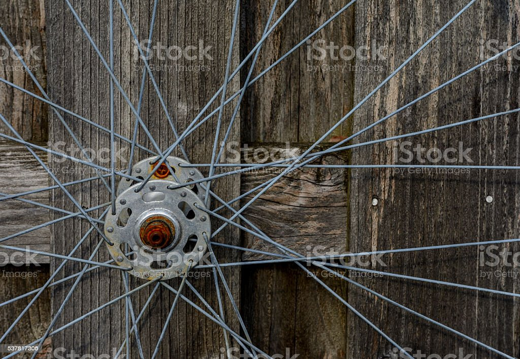 bicycle wheel closeup stock photo