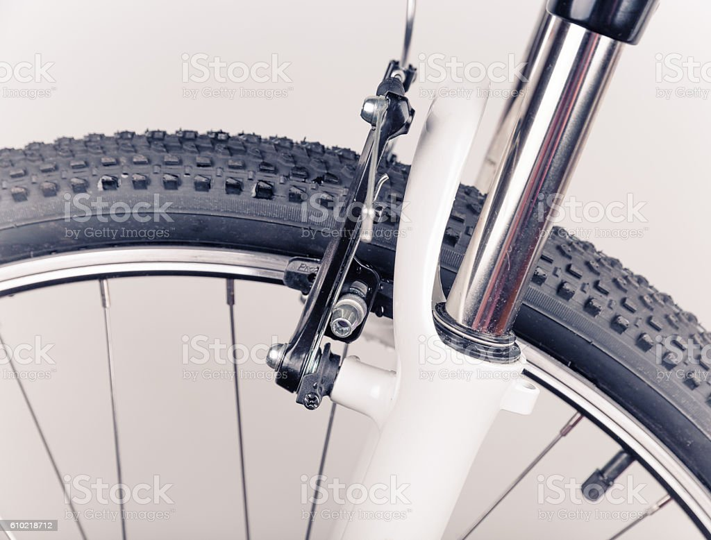 Bicycle wheel, close-up stock photo