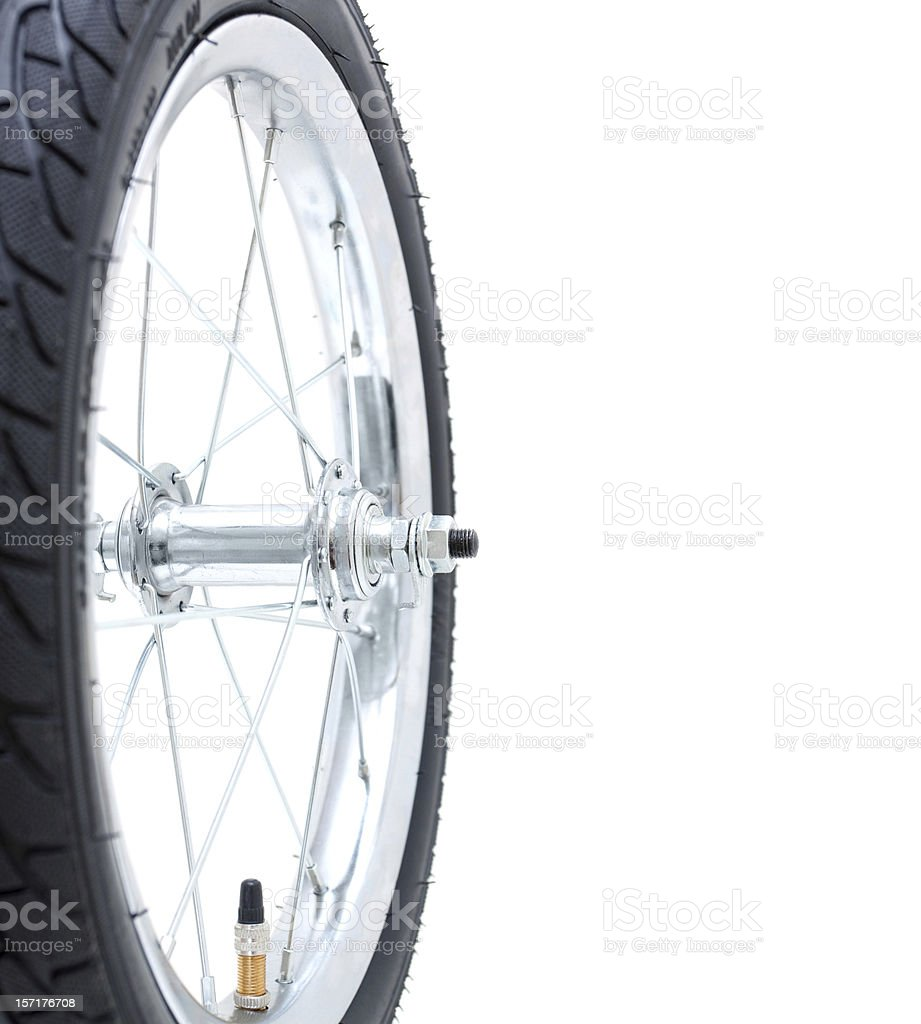 Bicycle wheel isolated on while background stock photo