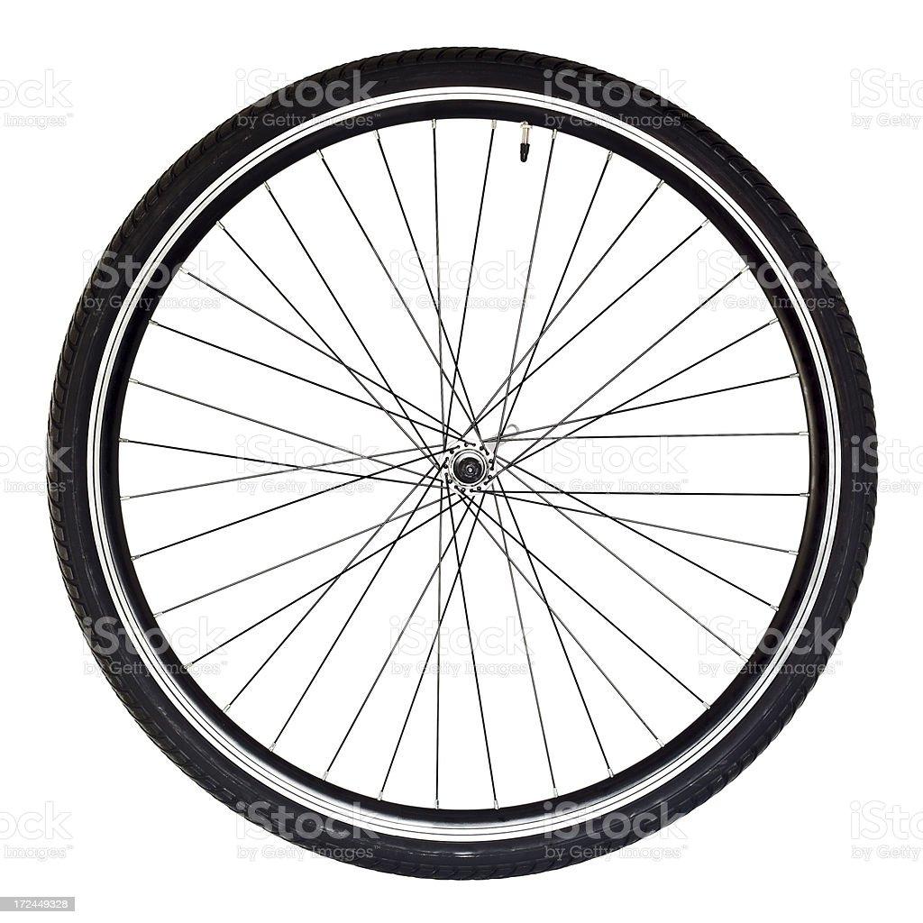Bicycle Wheel On White stock photo