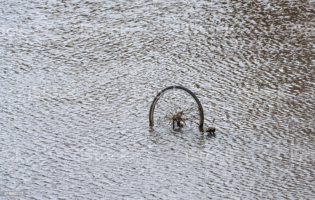 Bicycle wheel protrudes above the water surface of the canal stock photo