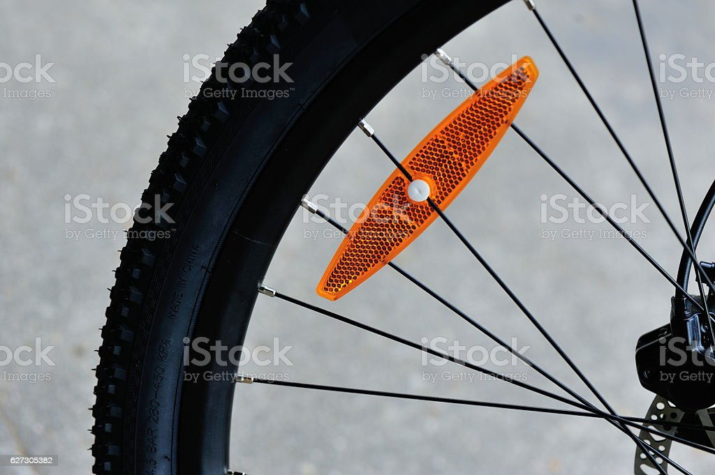 Bicycle wheel with disc hydraulic brakes stock photo