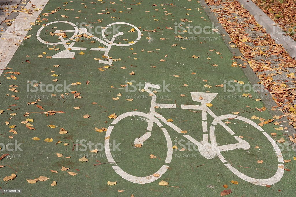 bicycle white sign stock photo