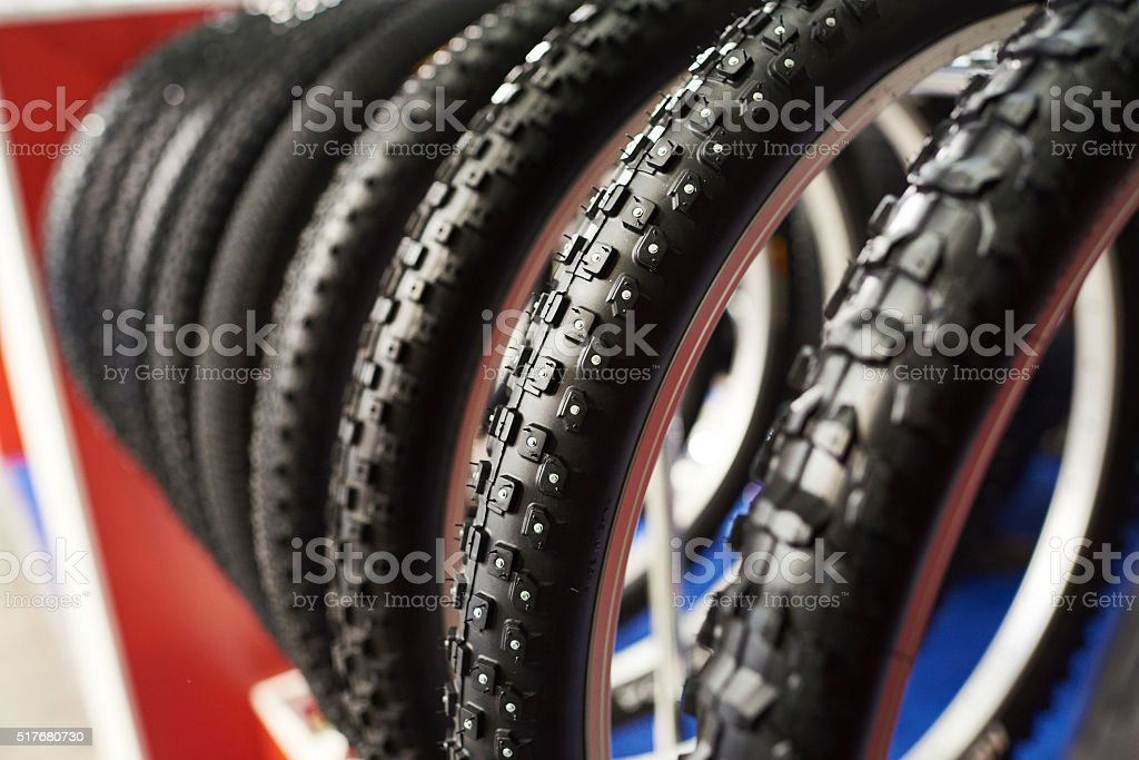 Bicycle winter tires an assortment of store stock photo