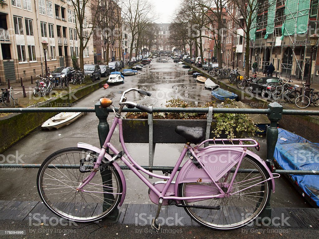 Bicycle With Amsterdam Canal royalty-free stock photo