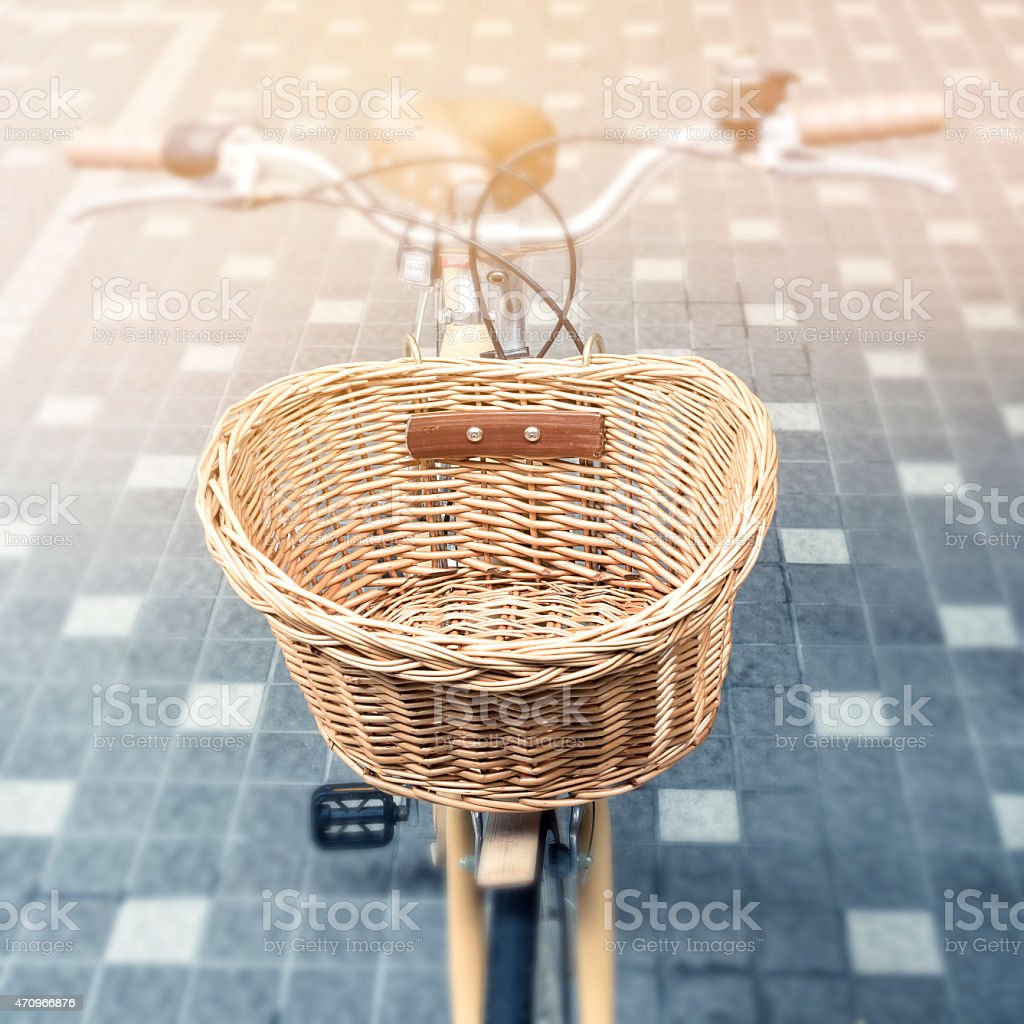 Bicycle with basket Vintage style stock photo