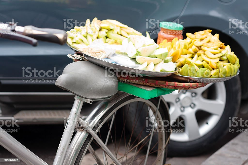 bicycle with fruits stock photo