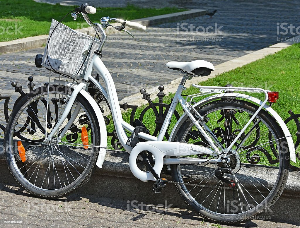 Bicycle with shopping basket stock photo
