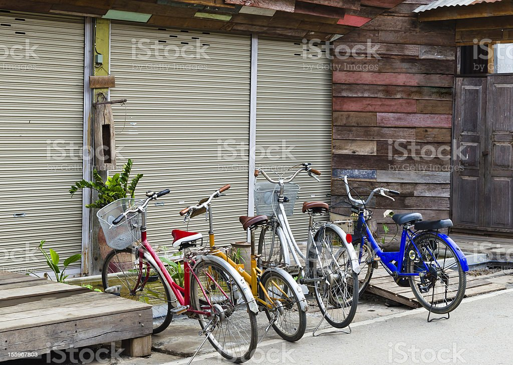 bicycles and old house royalty-free stock photo
