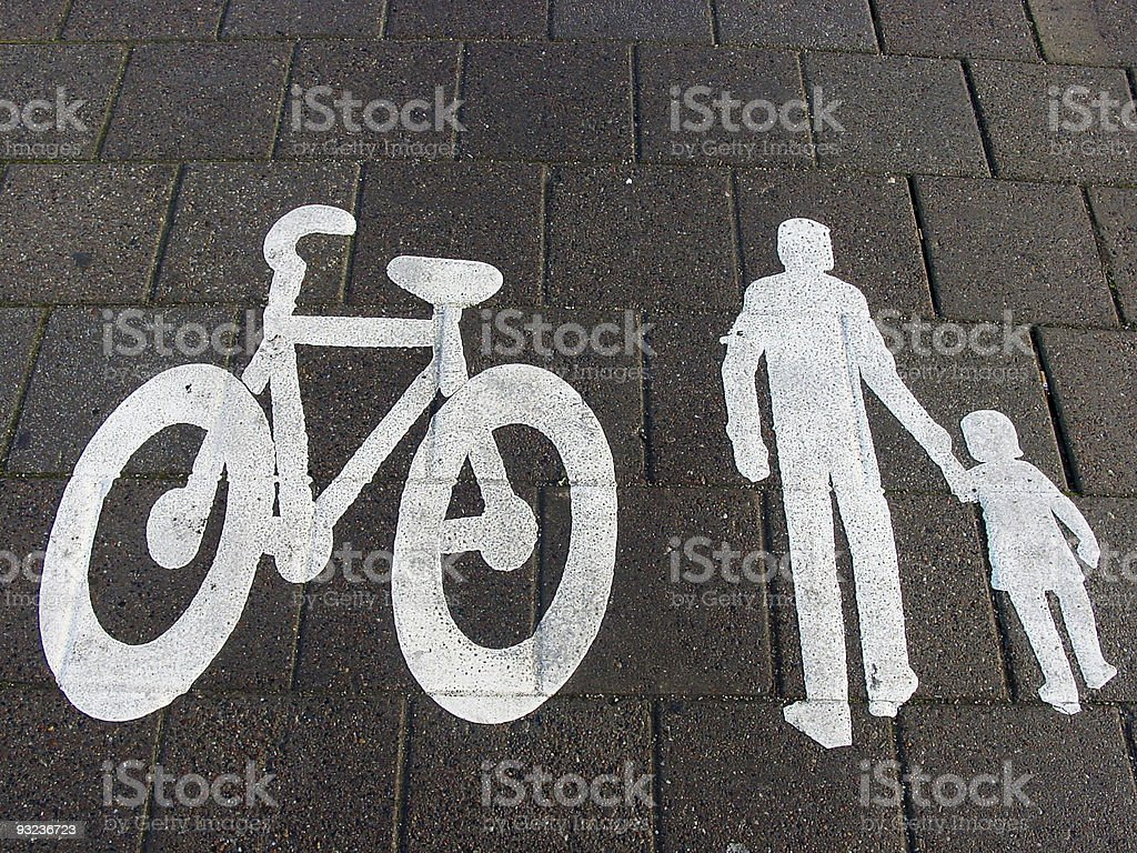 Bicycles and pedestrians only royalty-free stock photo