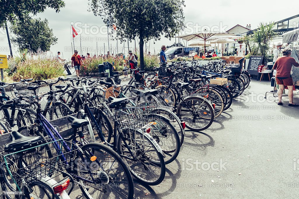 Bicycles at Ile de Re, France stock photo