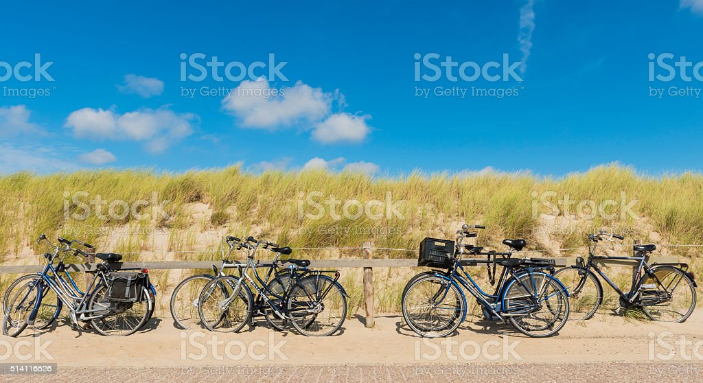 Bicycles at the Beach stock photo