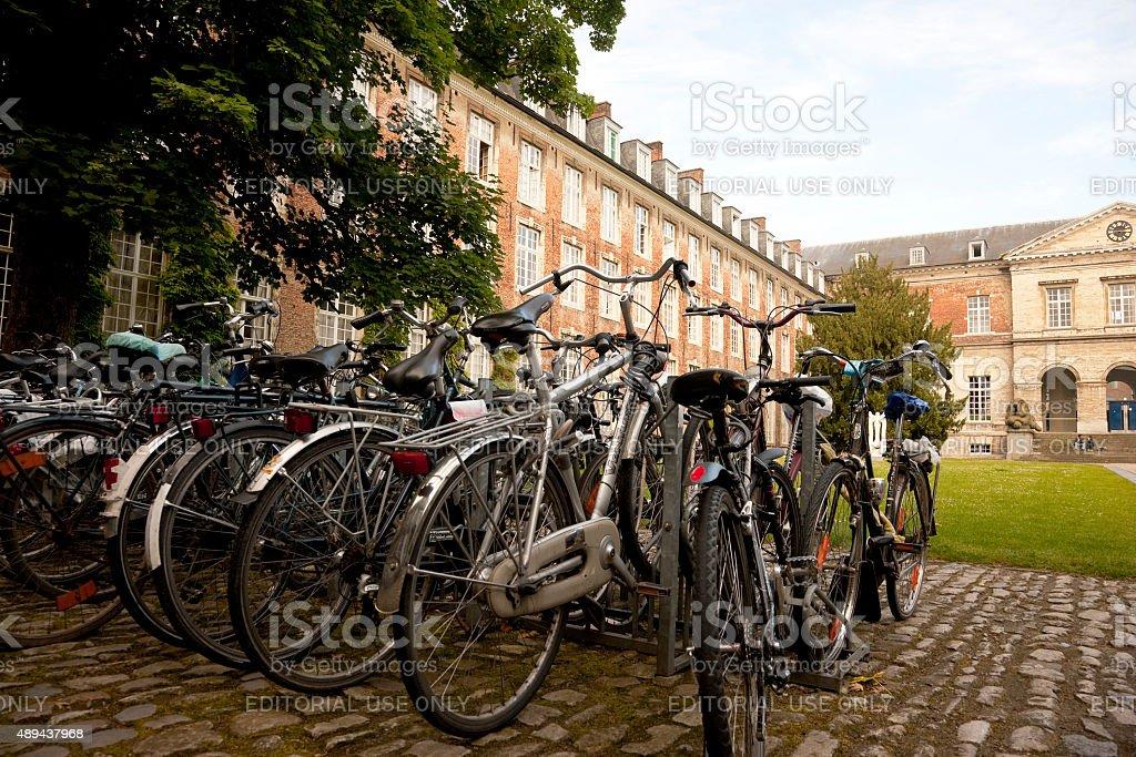 Bicycles at the Leuven University, Leuven, Belgium stock photo