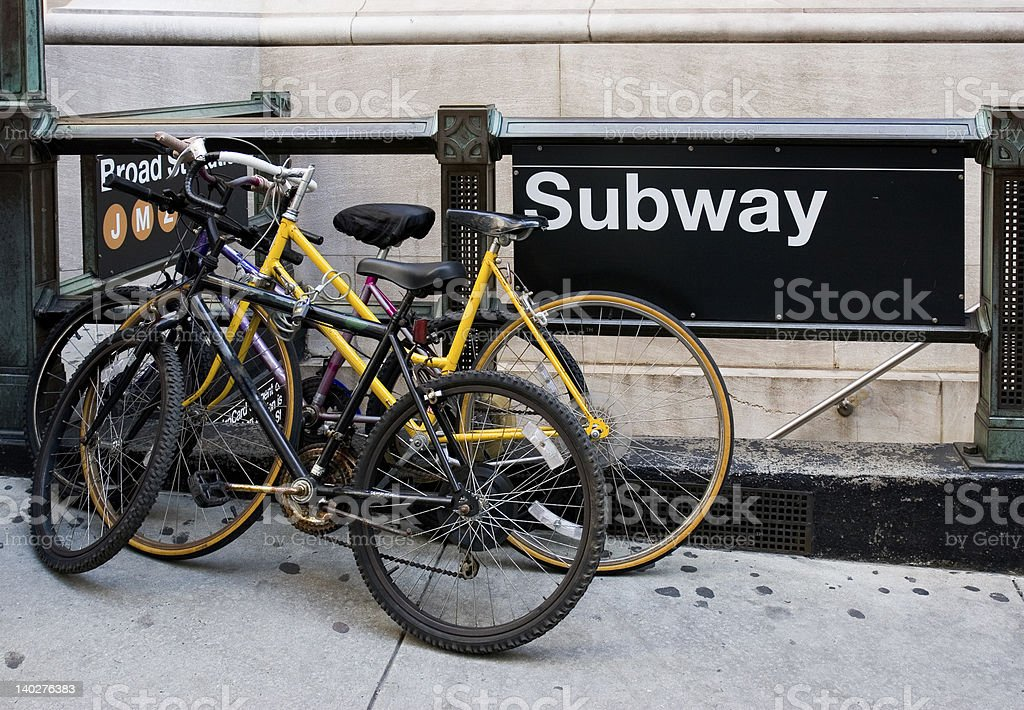 Bicycles beside Subway Station Entrance royalty-free stock photo