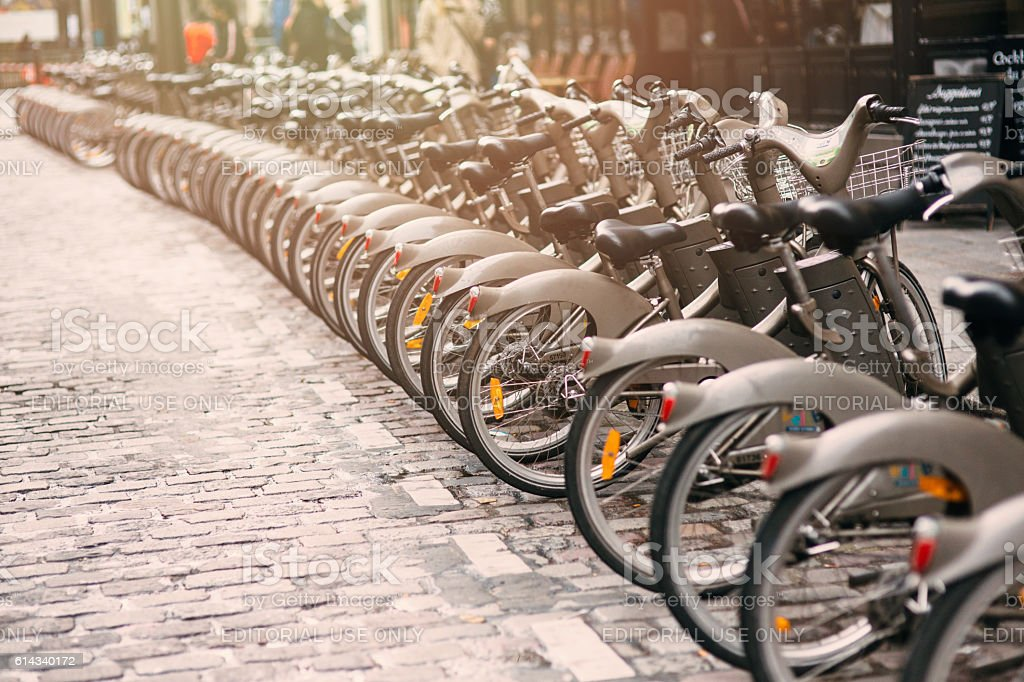 Bicycles for rent in Paris stock photo