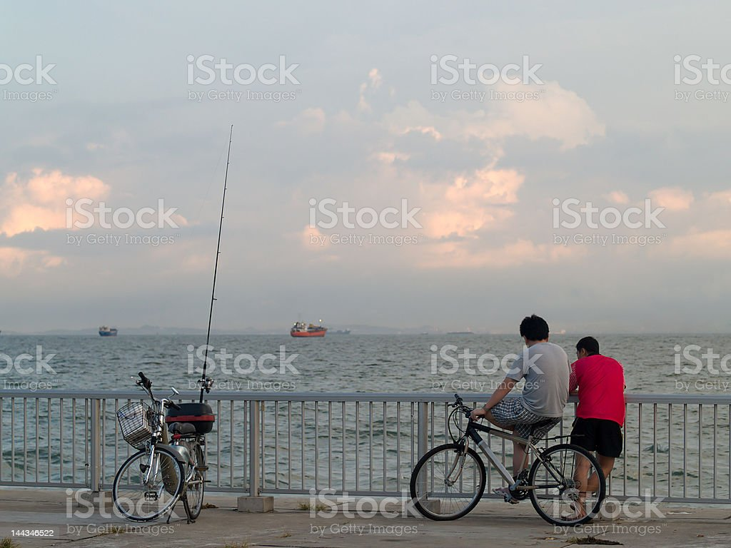 Bicycles, Friends and Fishing royalty-free stock photo