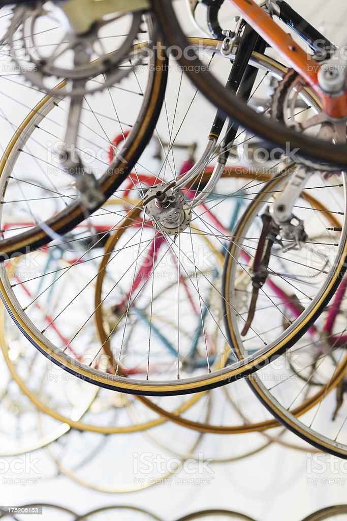 Bicycles hanging in a bike shop royalty-free stock photo