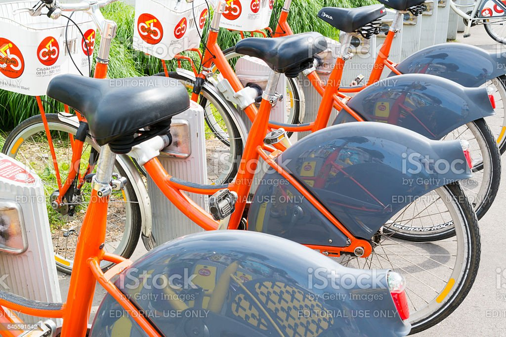 Bicycles in a row at citybike station in Vienna, Austria stock photo