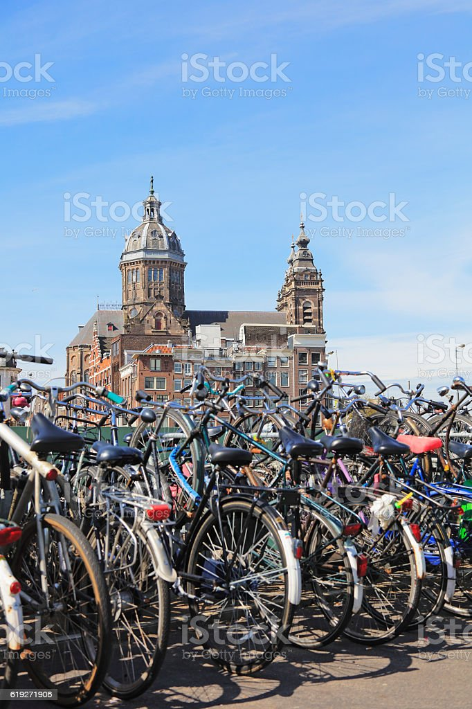 Bicycles in Amsterdam, Netherlands stock photo