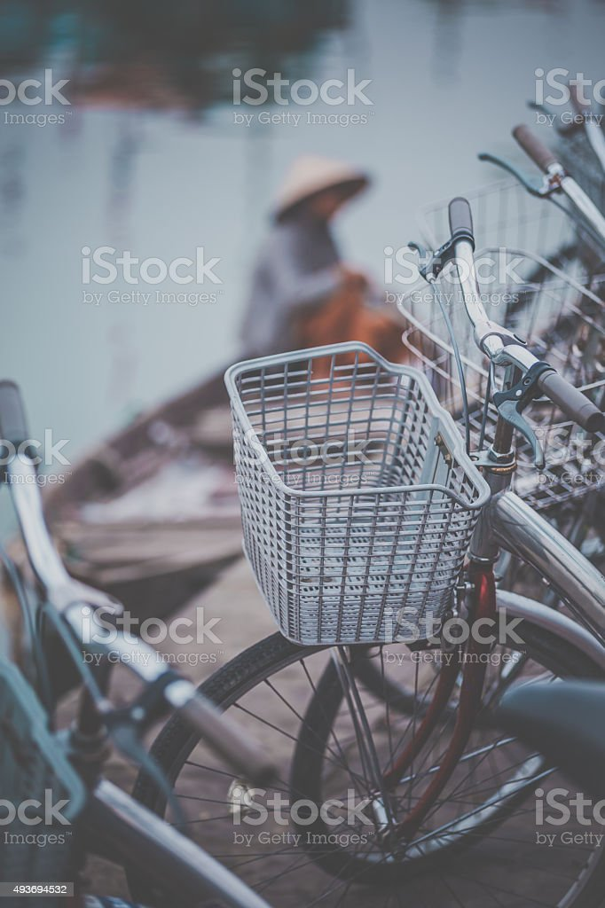 Bicycles in Hoi An, Vietnam stock photo