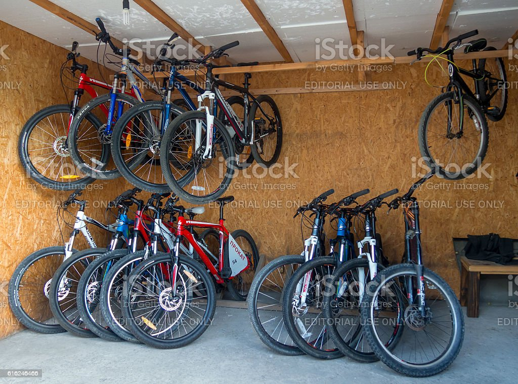 Bicycles in paragraph issuance for rent stock photo