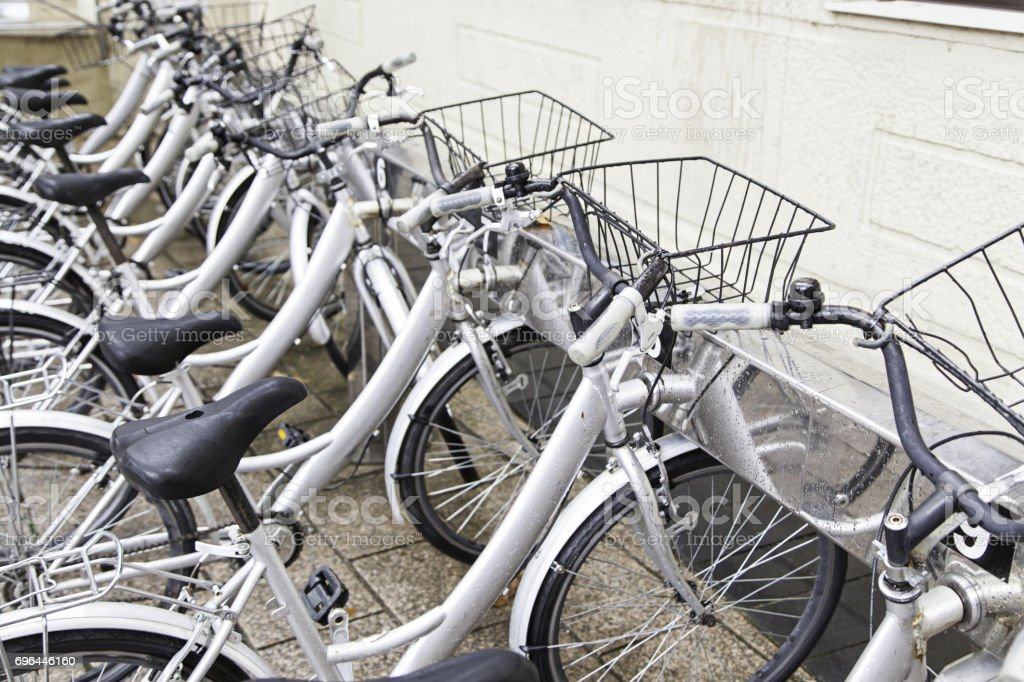 Bicycles in street stock photo