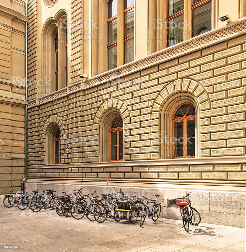 Bicycles in the courtyard of the Federal Palace of Switzerland stock photo