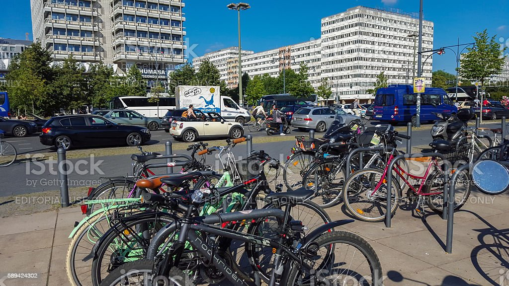 Bicycles in the near of U-Bahn station Berlin Alexanderplatz stock photo